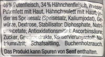 Delikatess Geflügel Wiener - Ingrédients - de