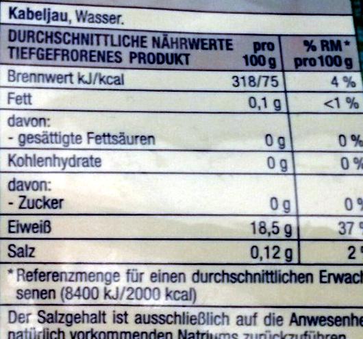 Pazifische Kabeljau Filet Portionen - Informations nutritionnelles - de