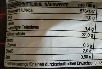 Dicke Fritte - Nährwertangaben - de