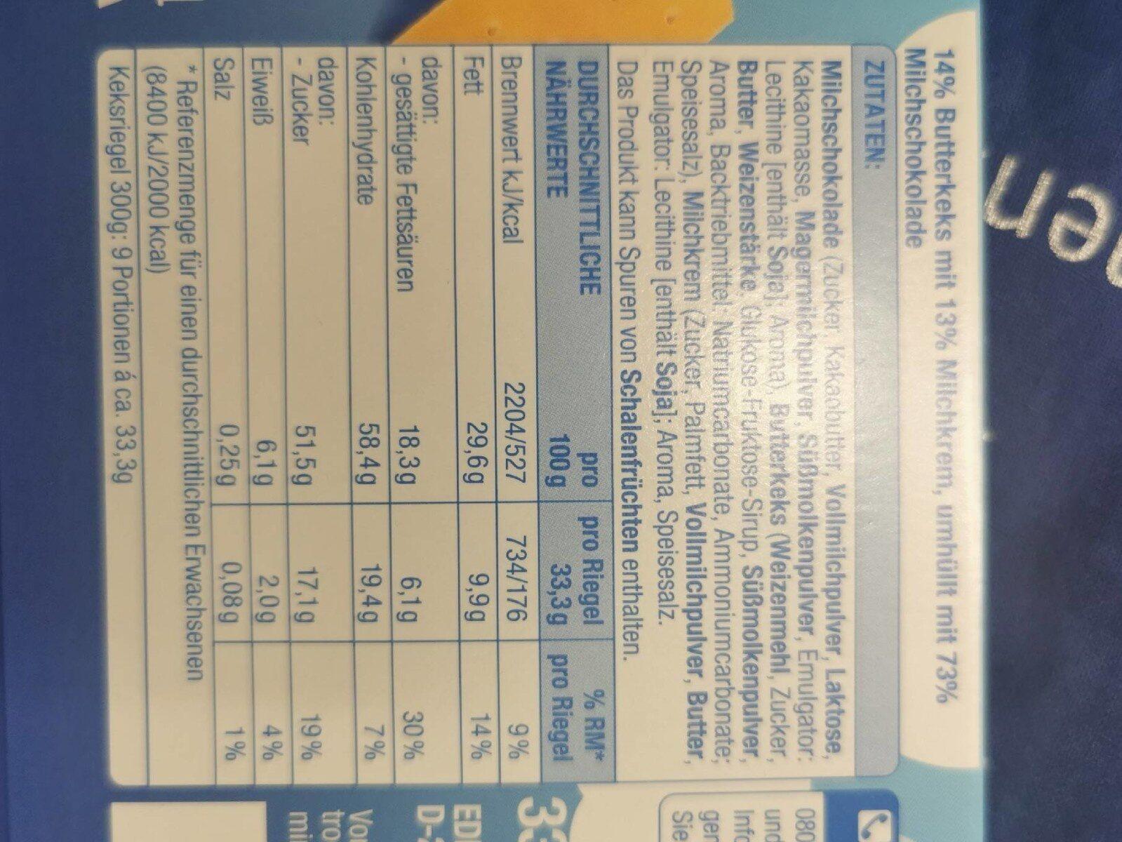 Schoko Keks mit Milchcreme - Valori nutrizionali - de