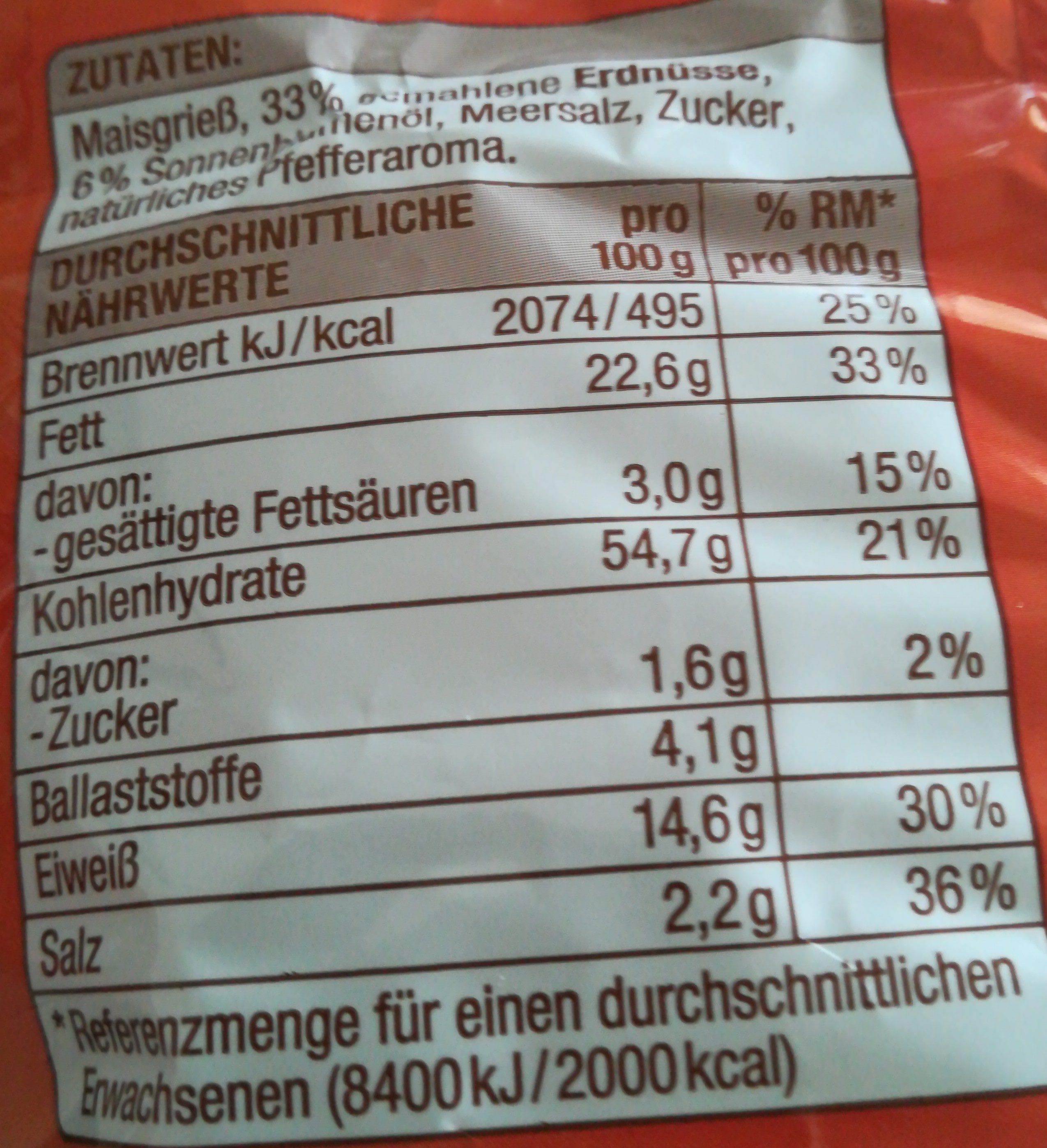 Erdnuss Flips - Voedingswaarden