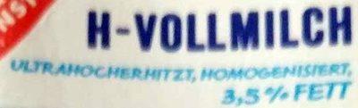 H Vollmilch 3,5 % Fett - Zutaten - de