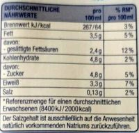 H Vollmilch 3,5 % Fett - Nährwertangaben - de
