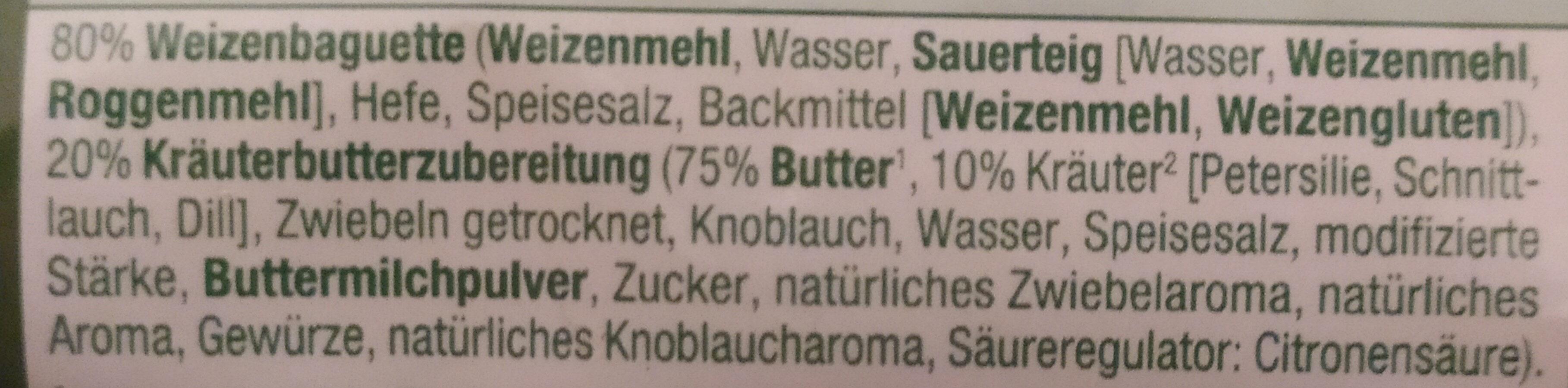Kräuter Baguette mit Kräuterbutterzubereitung gefüllt - Ingredients - de