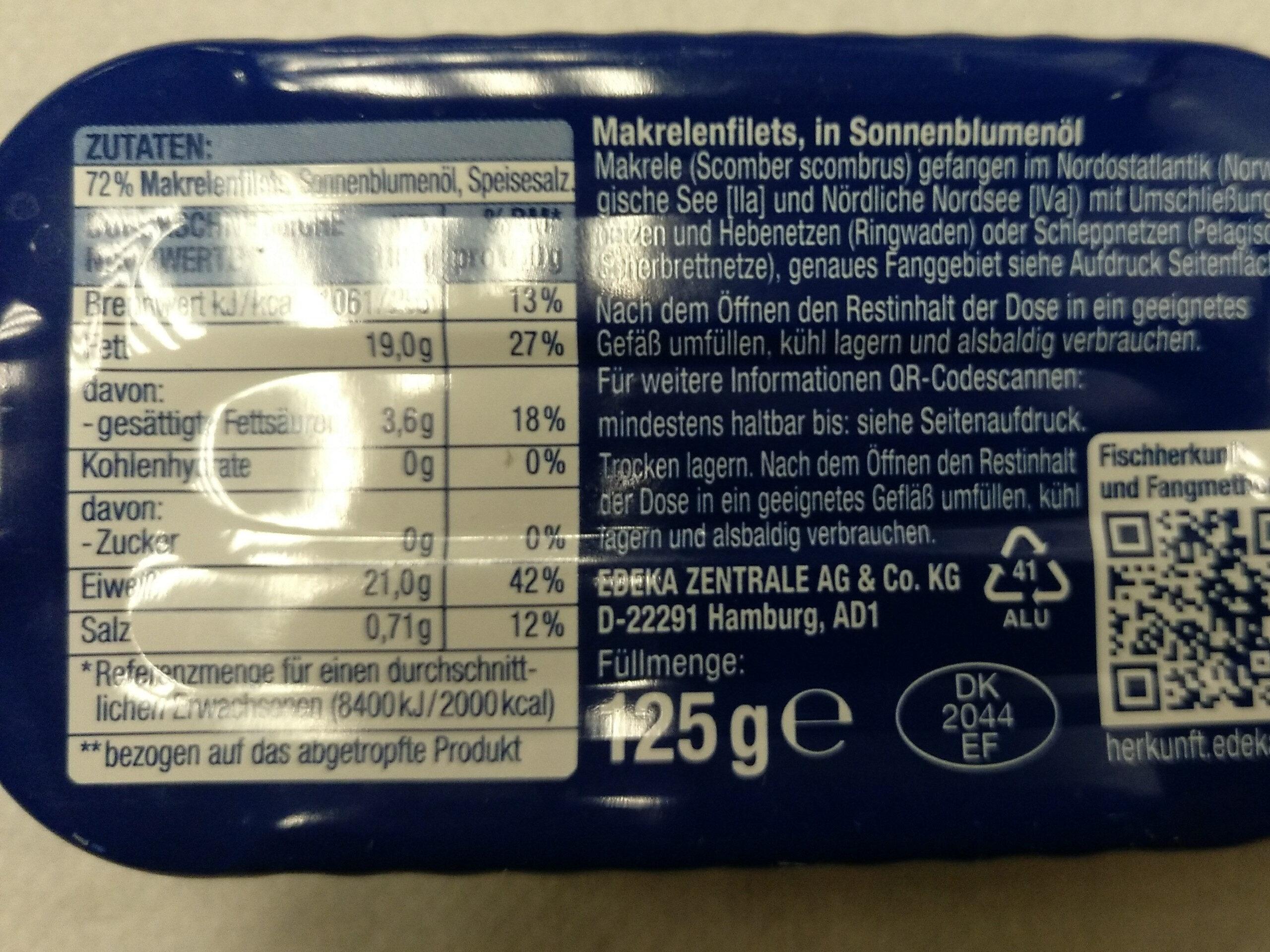 Makrelen Filets - Ingredienti - de