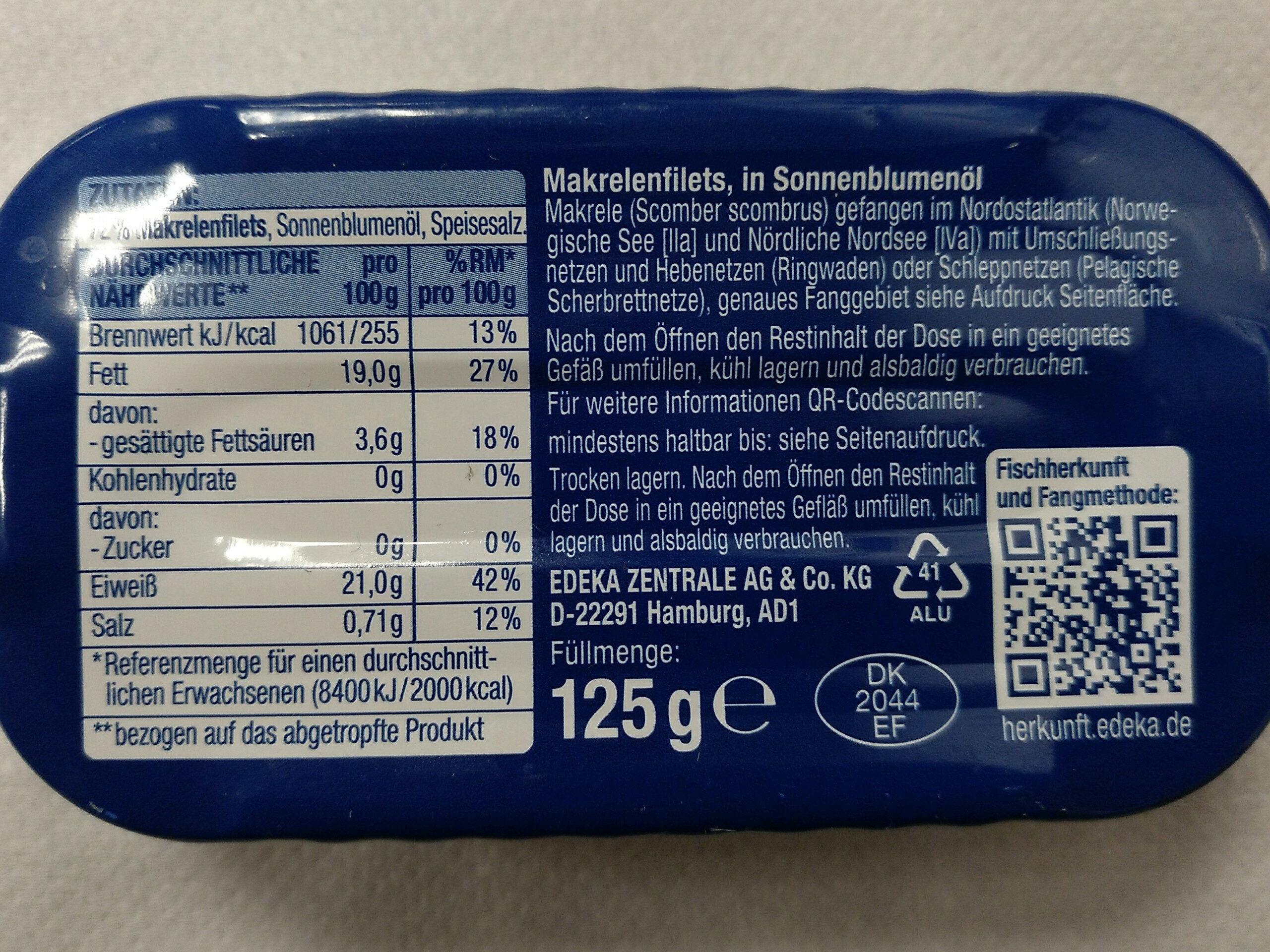 Makrelen Filets - Valori nutrizionali - de
