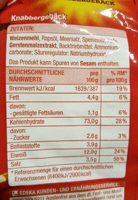 Salz Stangen - Información nutricional