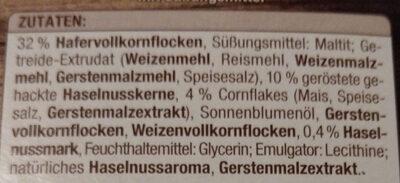 Müsliriegel Haselnuss ohne Zuckerzusatz - Ingrediënten - de