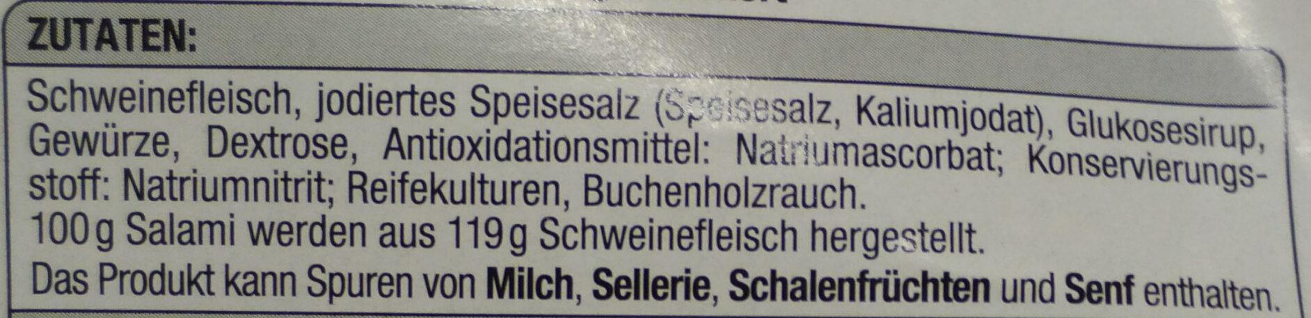 Hauchfeine Delikatess Salami geräuchtert - Ingrediënten - de