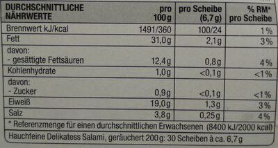 Hauchfeine Delikatess Salami geräuchtert - Voedingswaarden - de