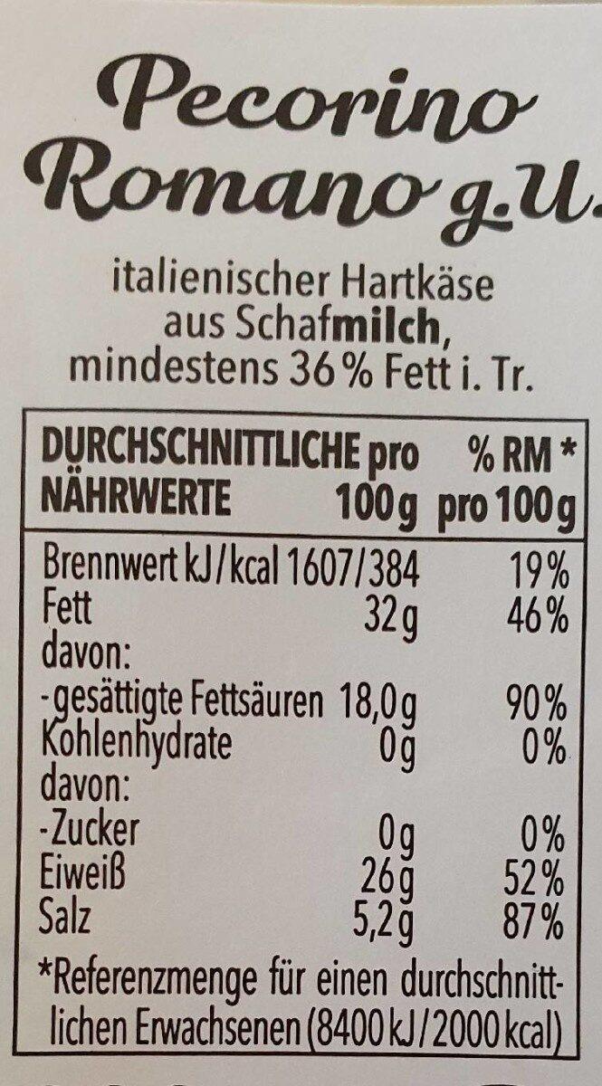 Pecorino Romano - Valori nutrizionali - de