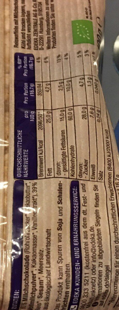 Edeka Bio Schoko Reiswaffeln - Ingredients - de