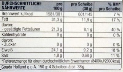 mild würziger Gouda aus Weidenmilch - Voedingswaarden - de