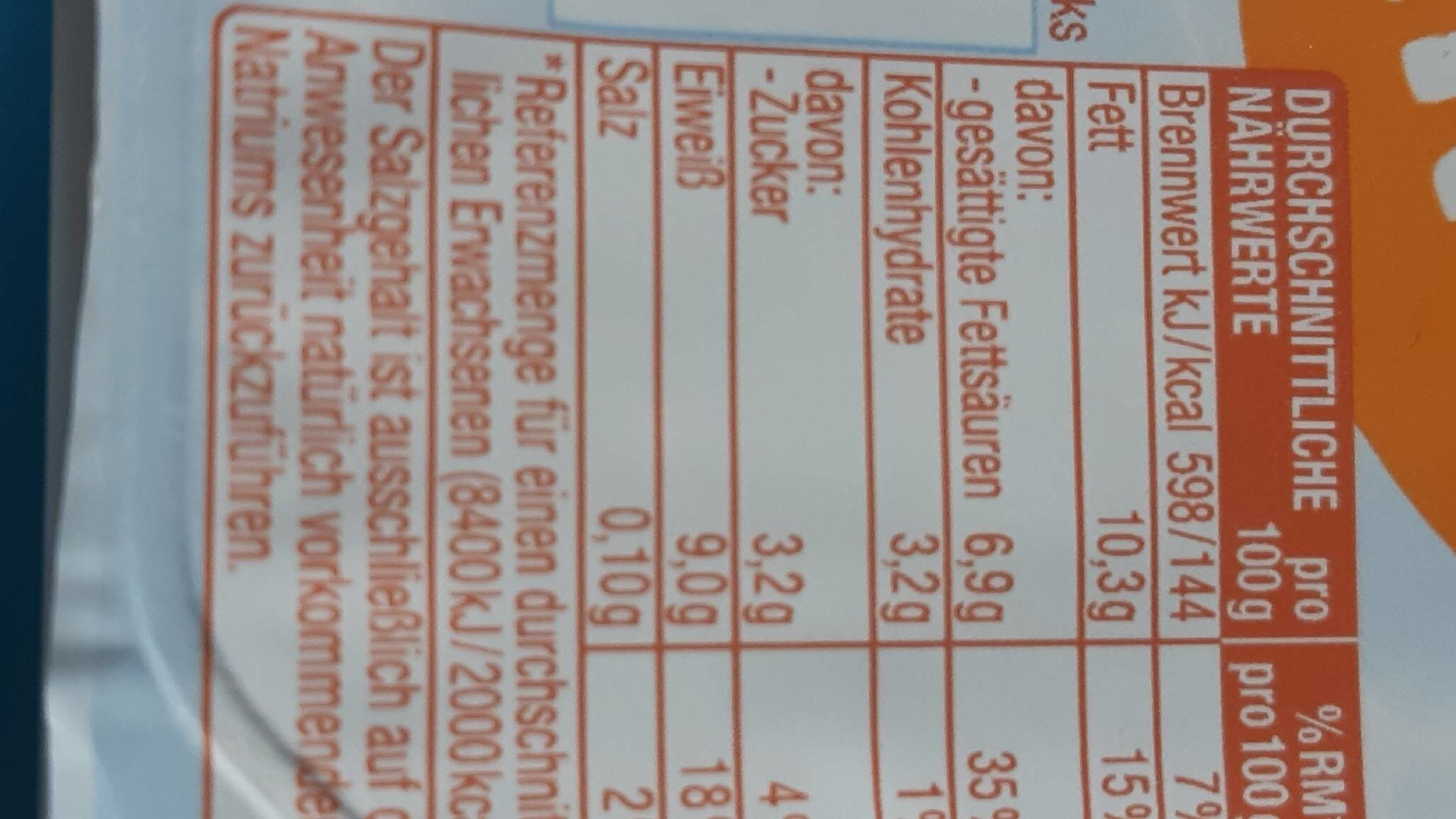 Speisequark - Valori nutrizionali - de