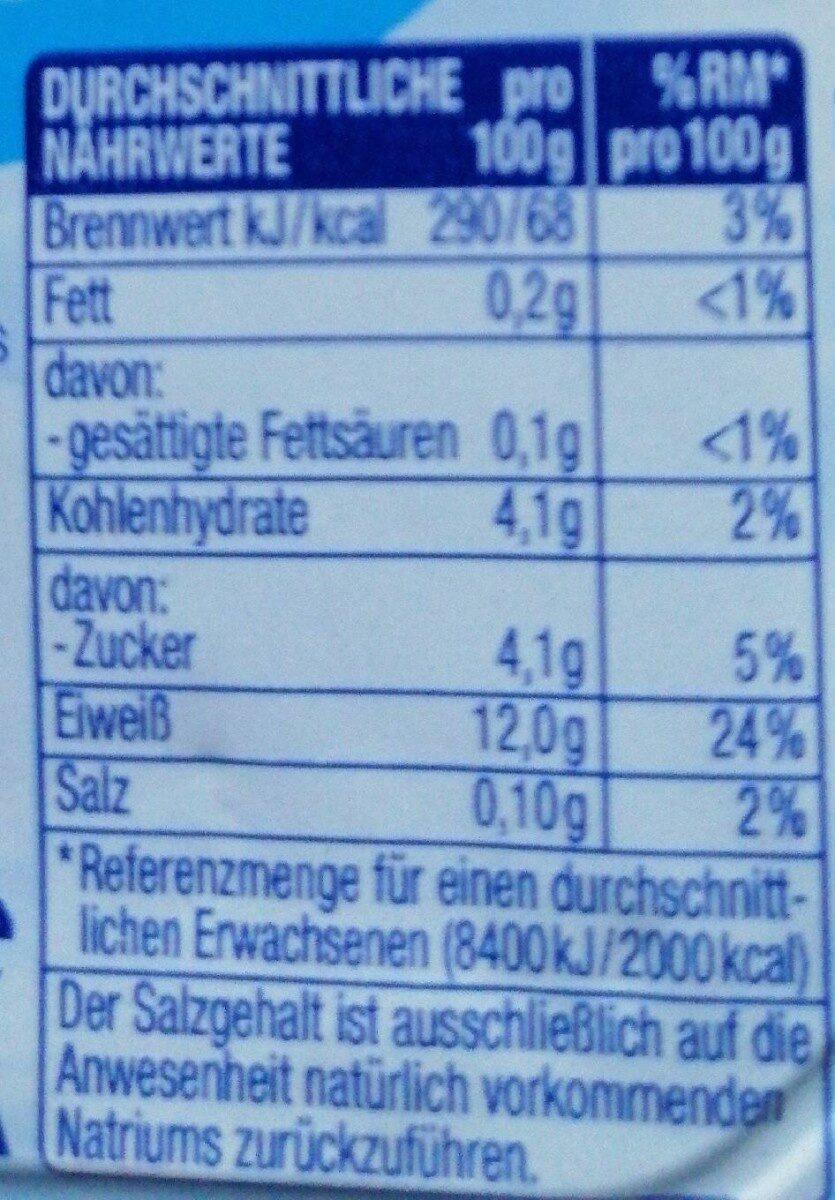 Speisequark - Informations nutritionnelles - de