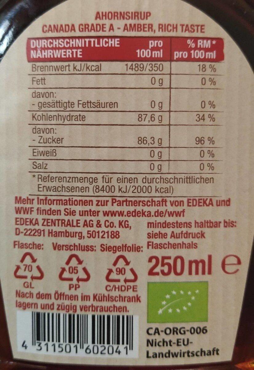 Edeka Bio Ahornsirup Aus Kanada Canada Grade a - Nährwertangaben - de