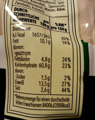 Tortellini tricolore - Nutrition facts