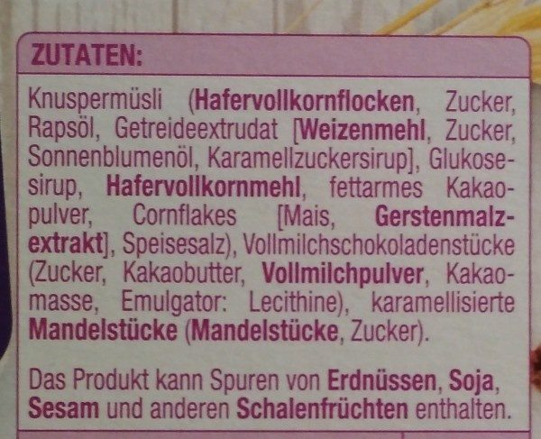 Edeka Gut & Günstig Schoko Knusper Müsli - Ingrediënten