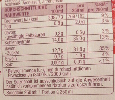 Banane Traube Acai Granatapfel Smoothie - Nutrition facts