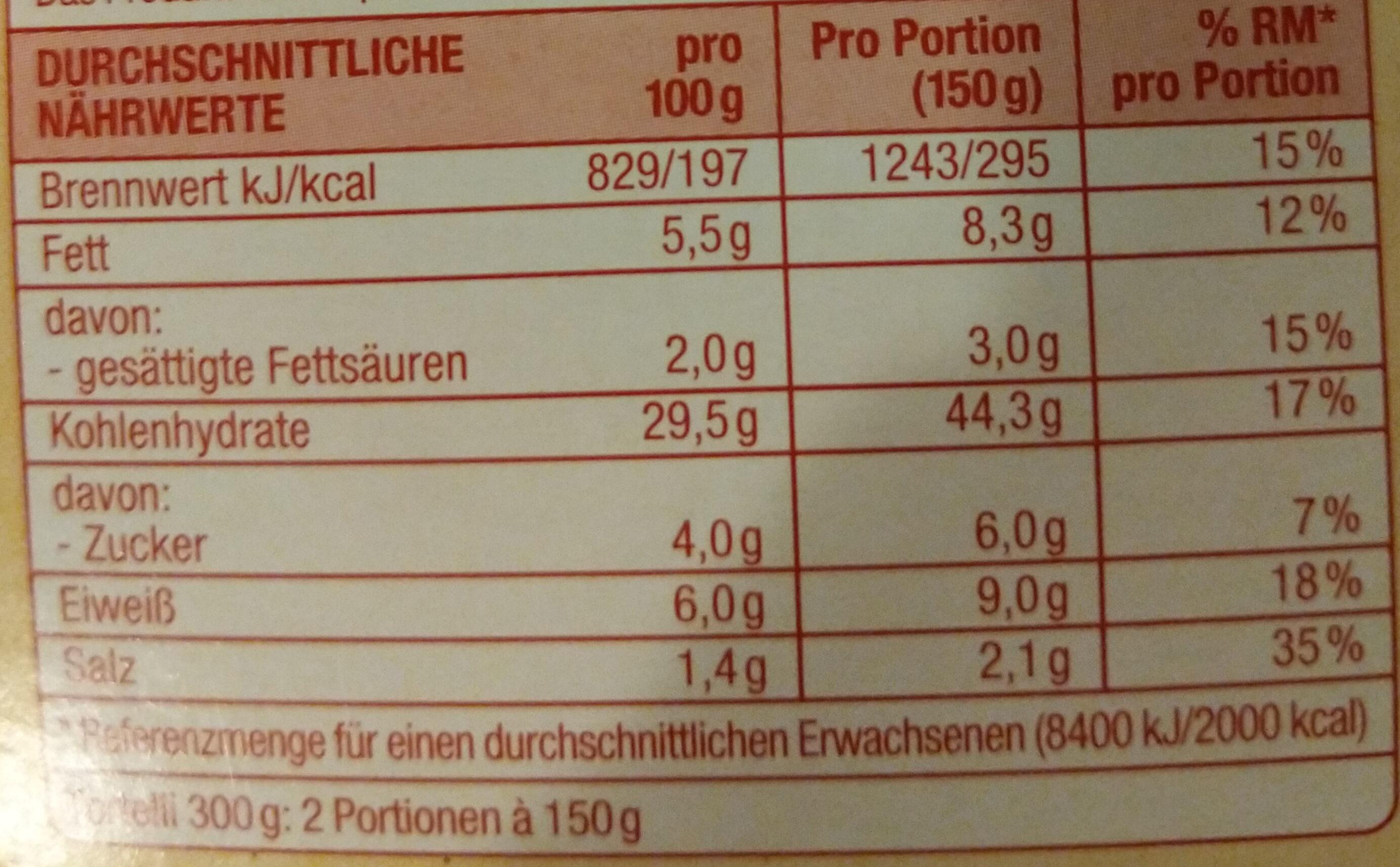 Tortelli Paprika und Chili - Nutrition facts