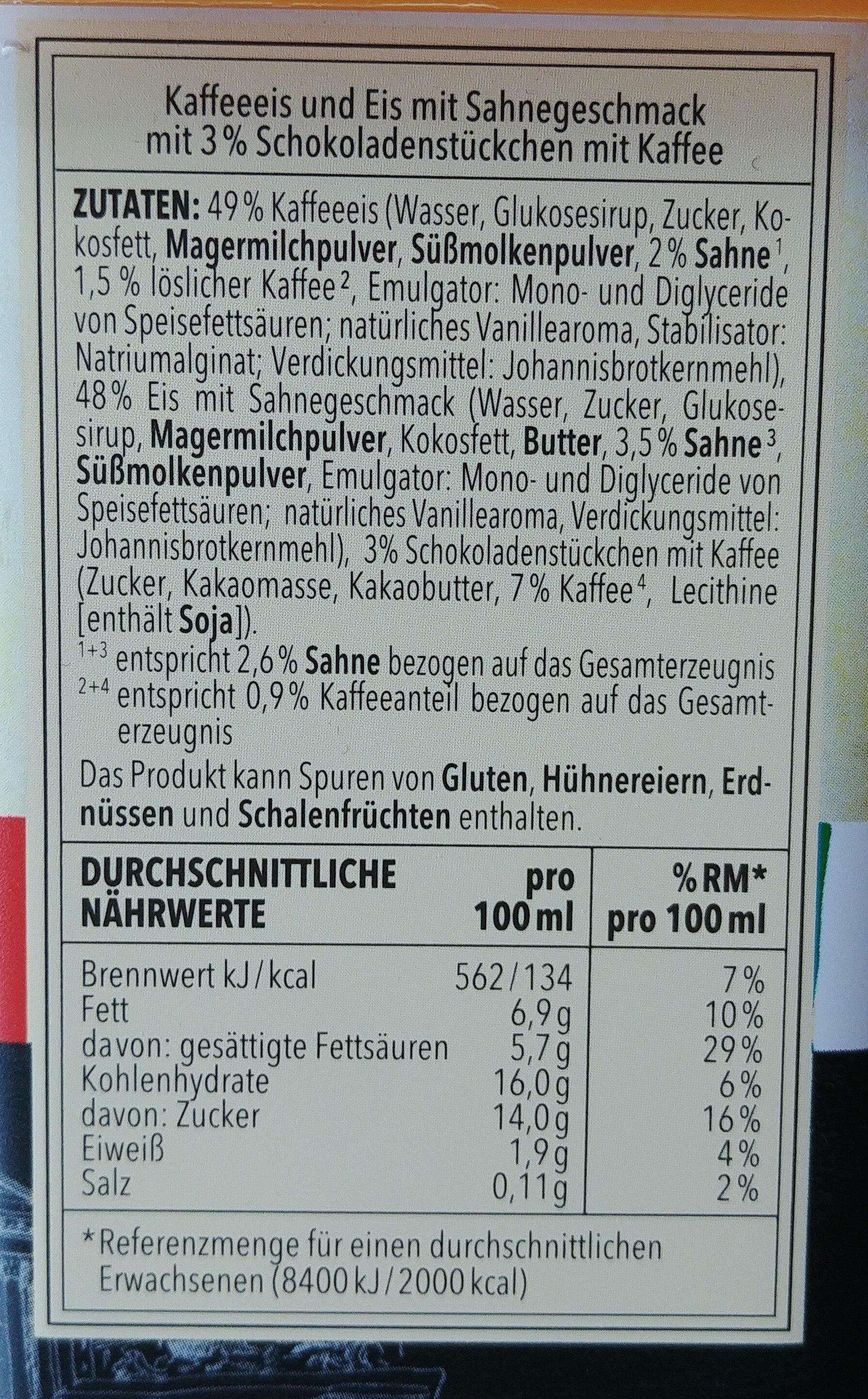 Kaffeeeis und Eis mit Sahnegeschmack mit 3% Schokoladenstückchen mit Kaffee. - Ingrédients