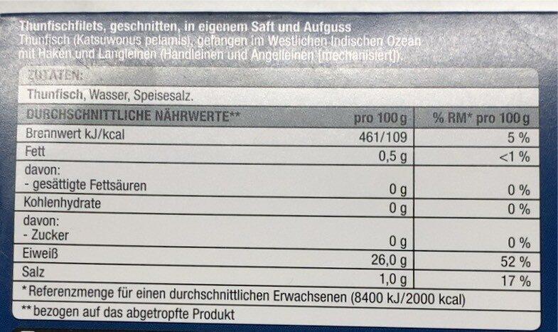 Thunfisch - Nährwertangaben - de
