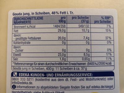 Junger Gouda, 48% Fett I. tr. - Ingrediënten - de