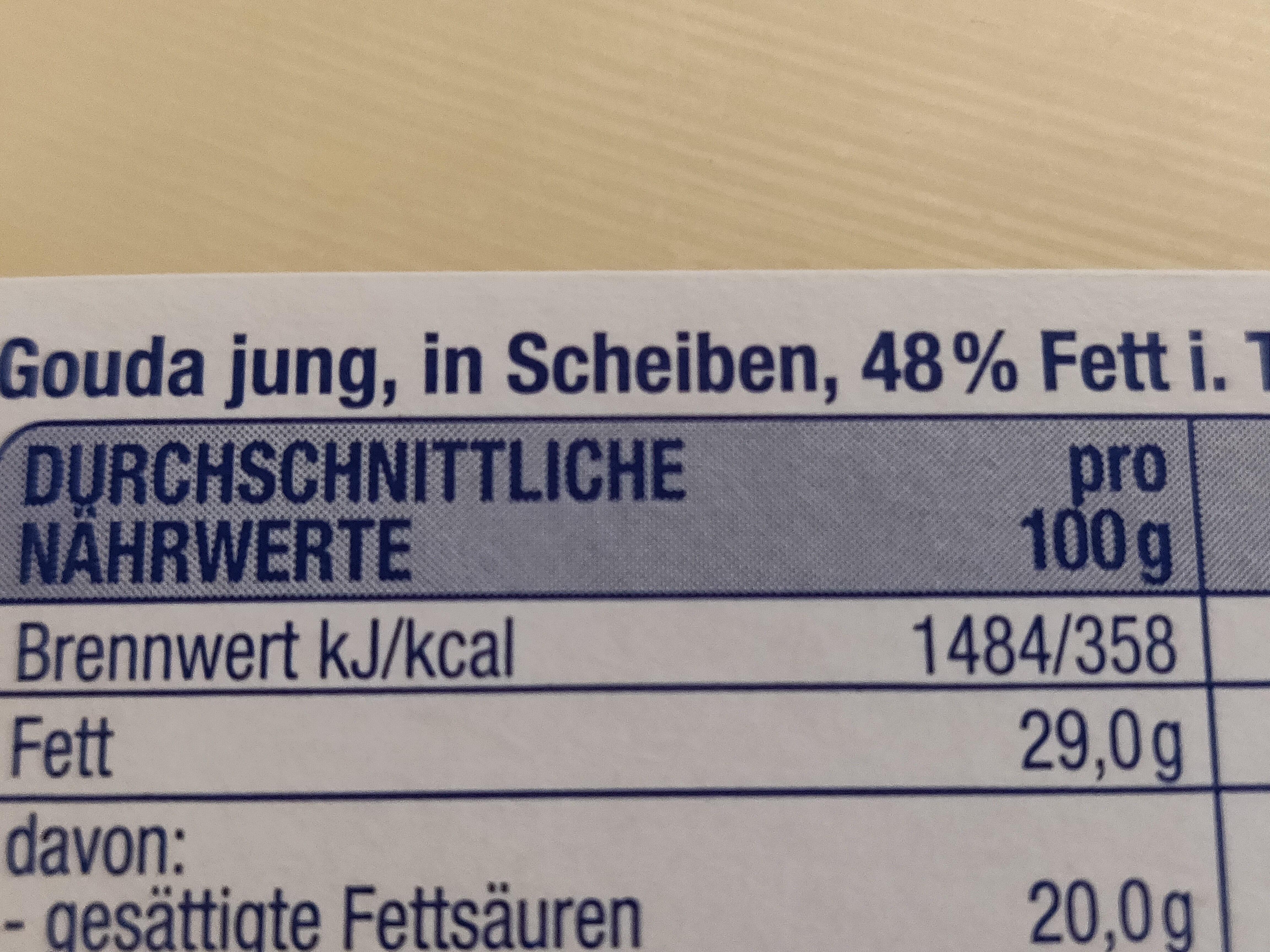 Junger Gouda, 48% Fett I. tr. - Voedingswaarden - de