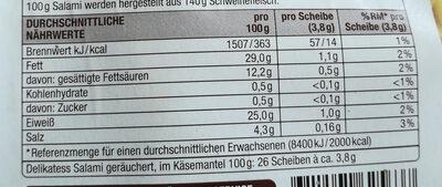 Delikatess Salami geräuchert, im Käsemantel - Nutrition facts - de