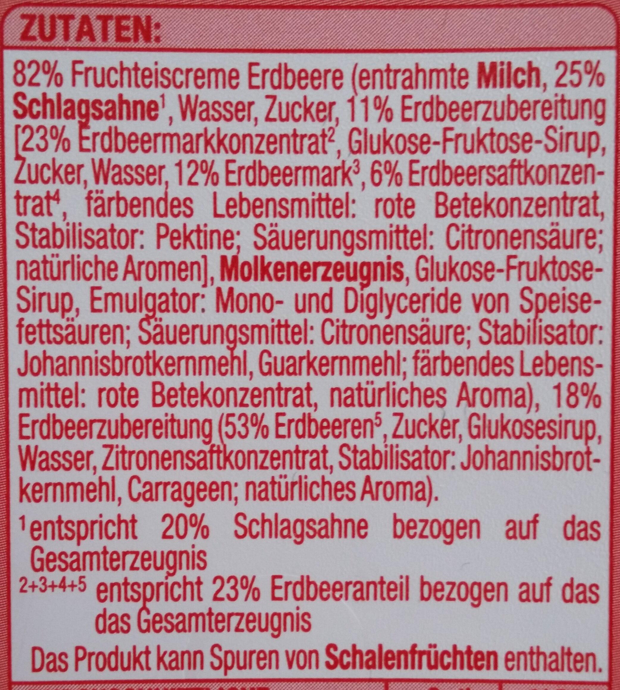 Fruchteiscreme Erdbeere - Ingredients - de