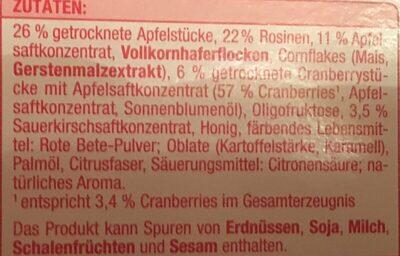 FRUCHT RIEGEL - Ingredients