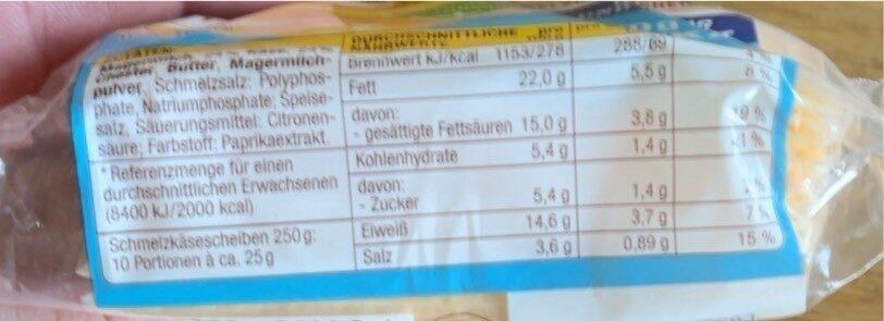 Chester Schmelzkäse - Informations nutritionnelles - de