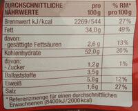 Chips Paprika - Nutrition facts - de