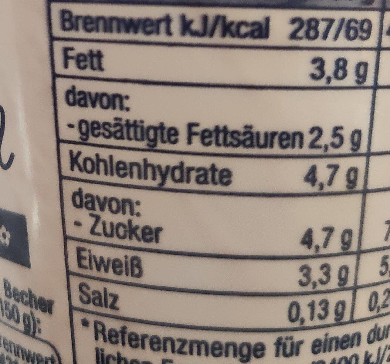 Joghurt mild - stichfest - Nährwertangaben - de