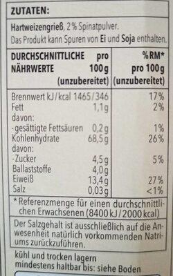 Lasagne verdi - Valori nutrizionali - de
