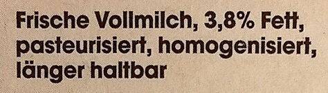 Edeka Frische Vollmilch 3,8% - Ingrediënten