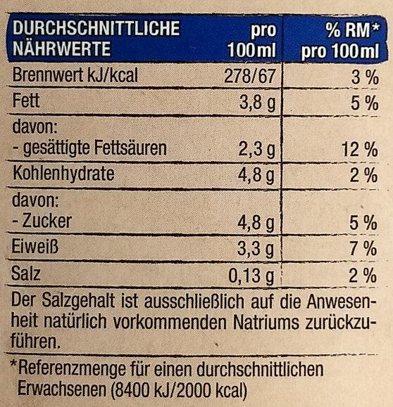 Edeka Frische Vollmilch 3,8% - Voedingswaarden