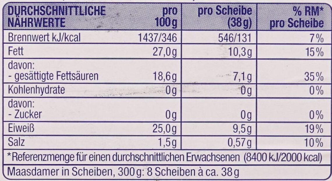 Nussiger Maasdamer - Nutrition facts - de
