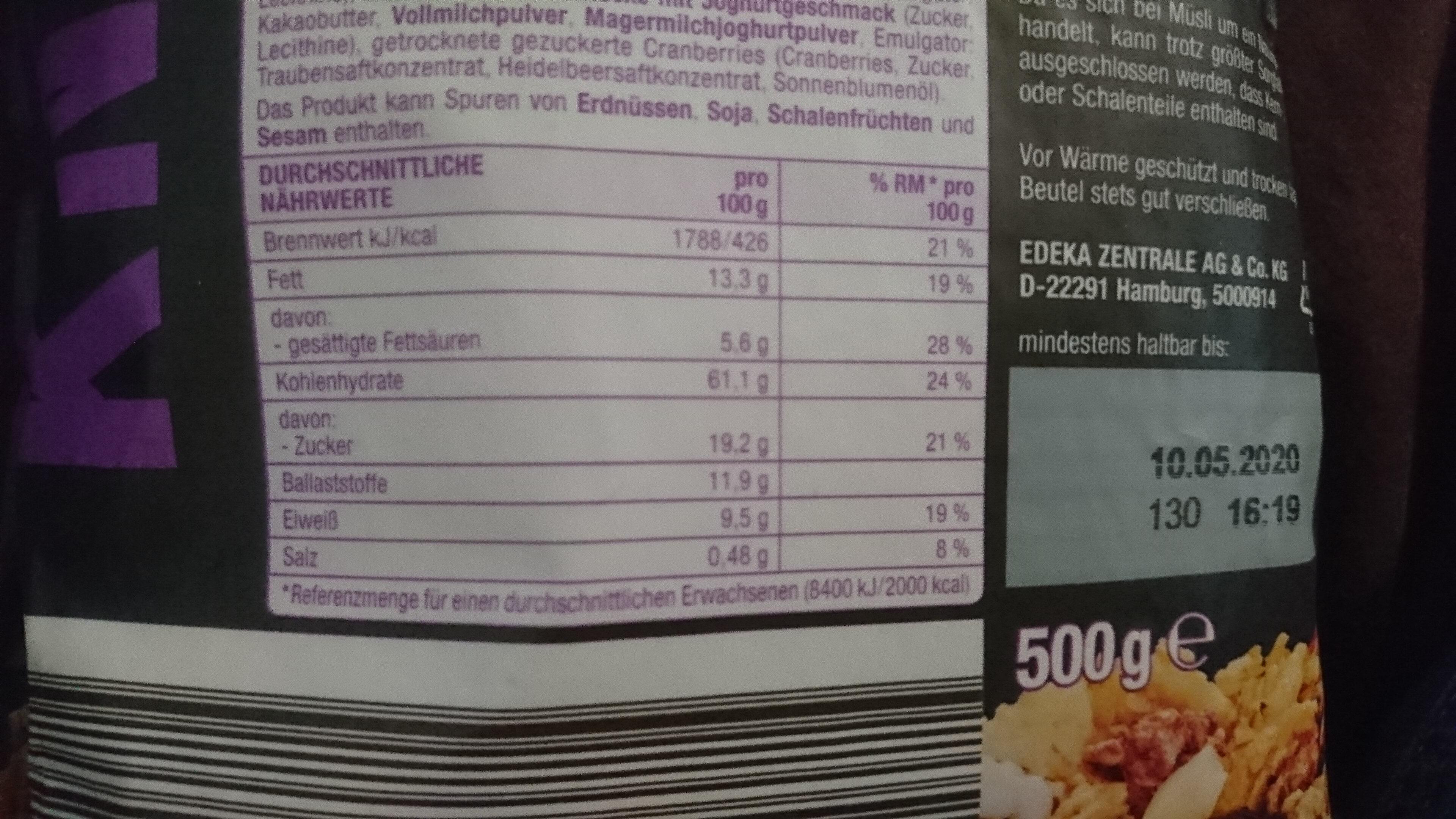 KNUSPER Müsli Heidelbeer Joghurt - Voedingswaarden - de