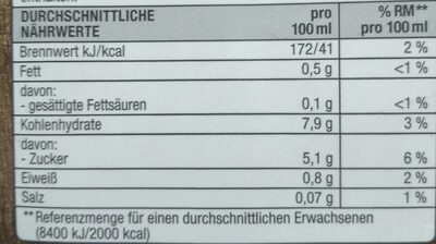 Haferdrink - Informazioni nutrizionali - de