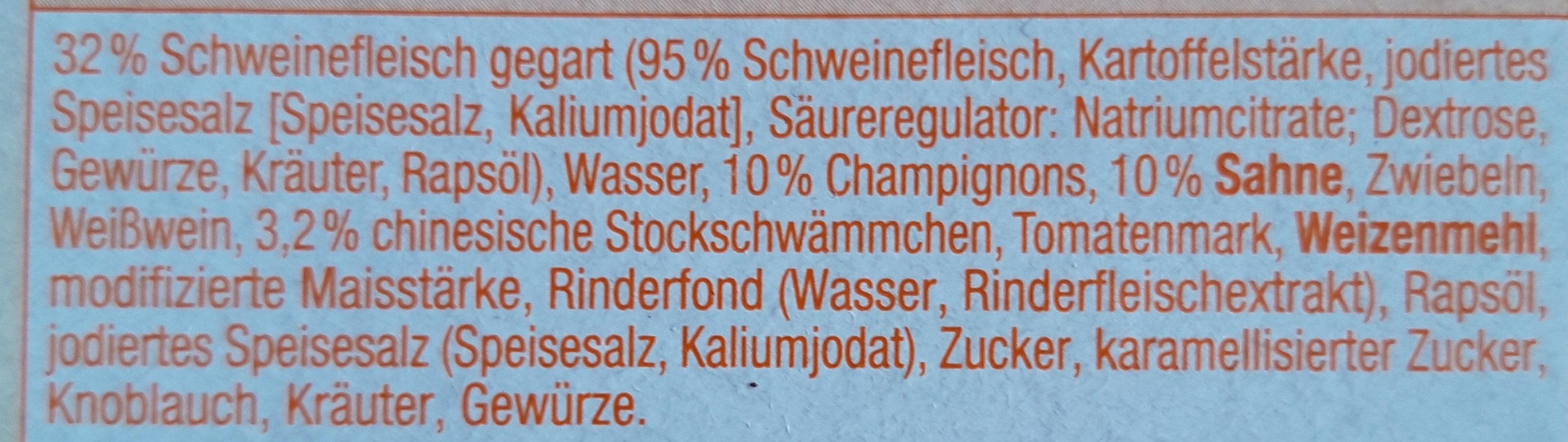 Sahne-Geschnetzeltes Schweizer Art - Ingrediënten - de