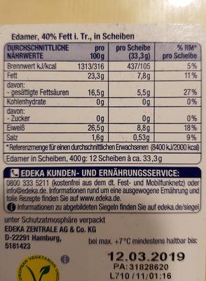 Milder Edamer 40% Fett - Ingrediënten