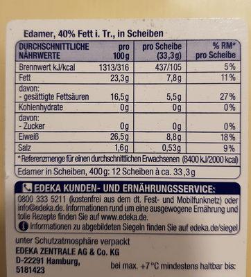 Milder Edamer 40% Fett - Voedingswaarden