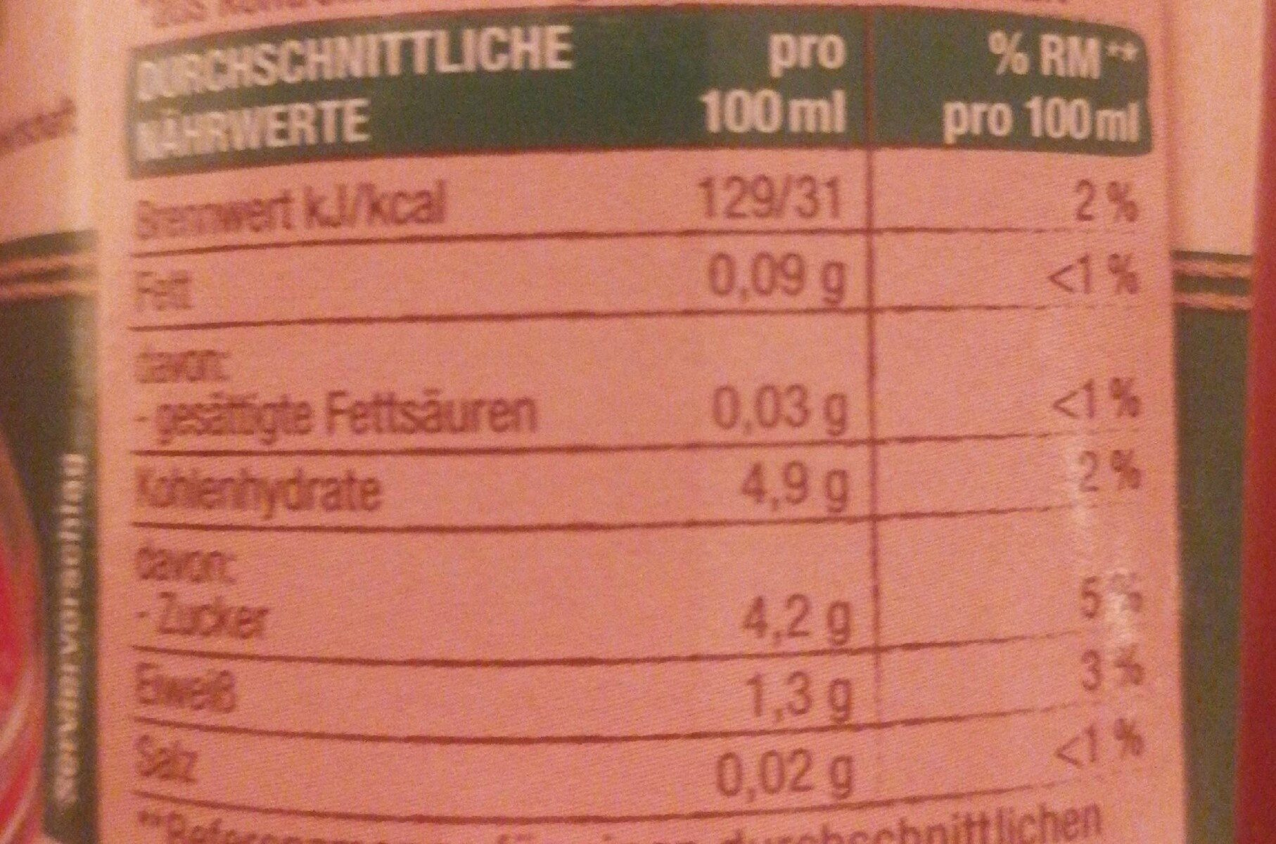 Passata fein passierte Tomaten - Výživové údaje - de