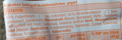 Delikatess Geflügel frikadellenbällchen gegart - Ingrédients - de