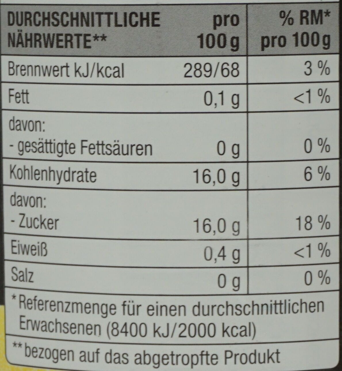 Ananas, ganze Scheiben, leicht gezuckert - Nährwertangaben - de