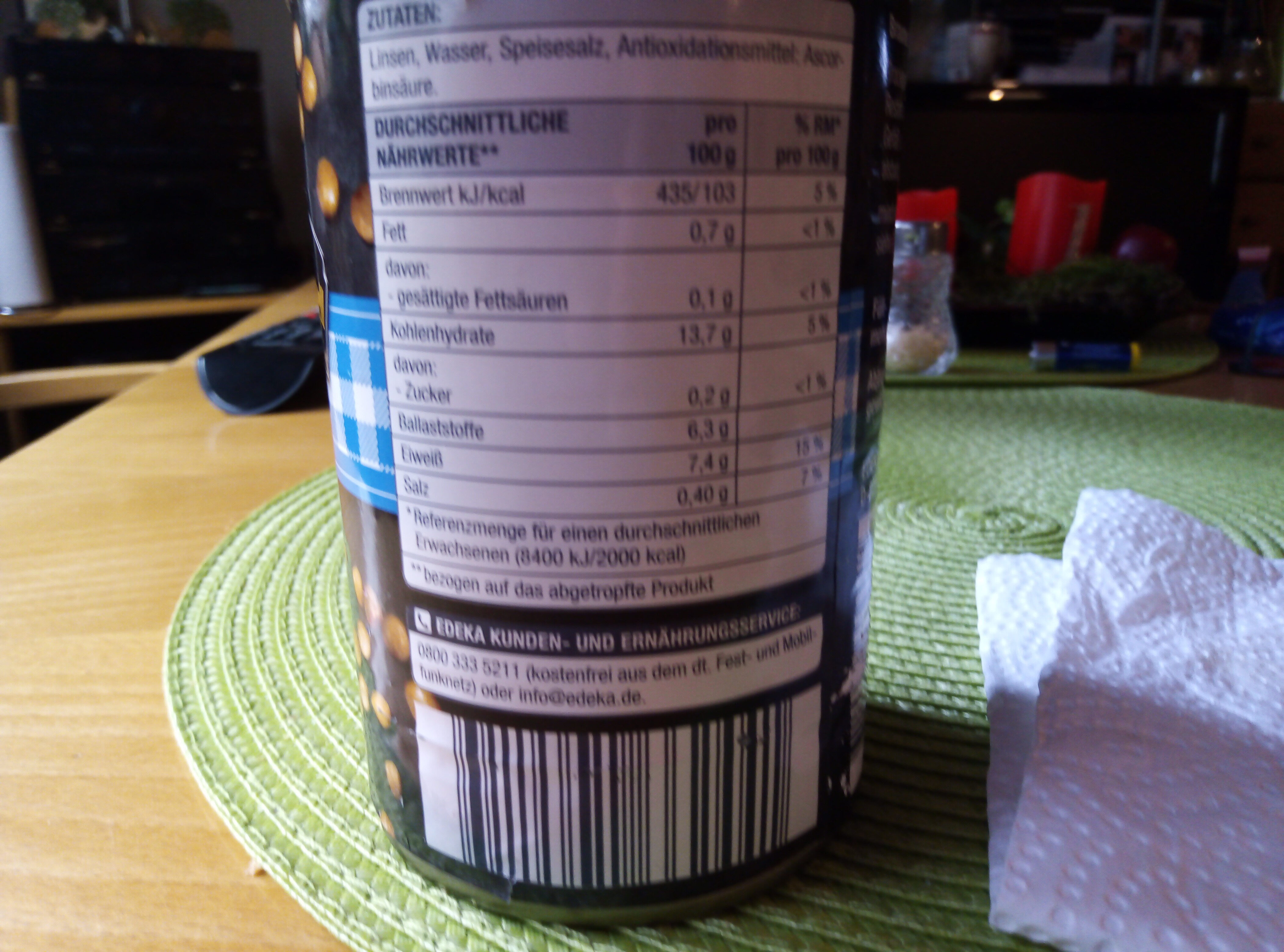 Braune Linsen - Informations nutritionnelles - de