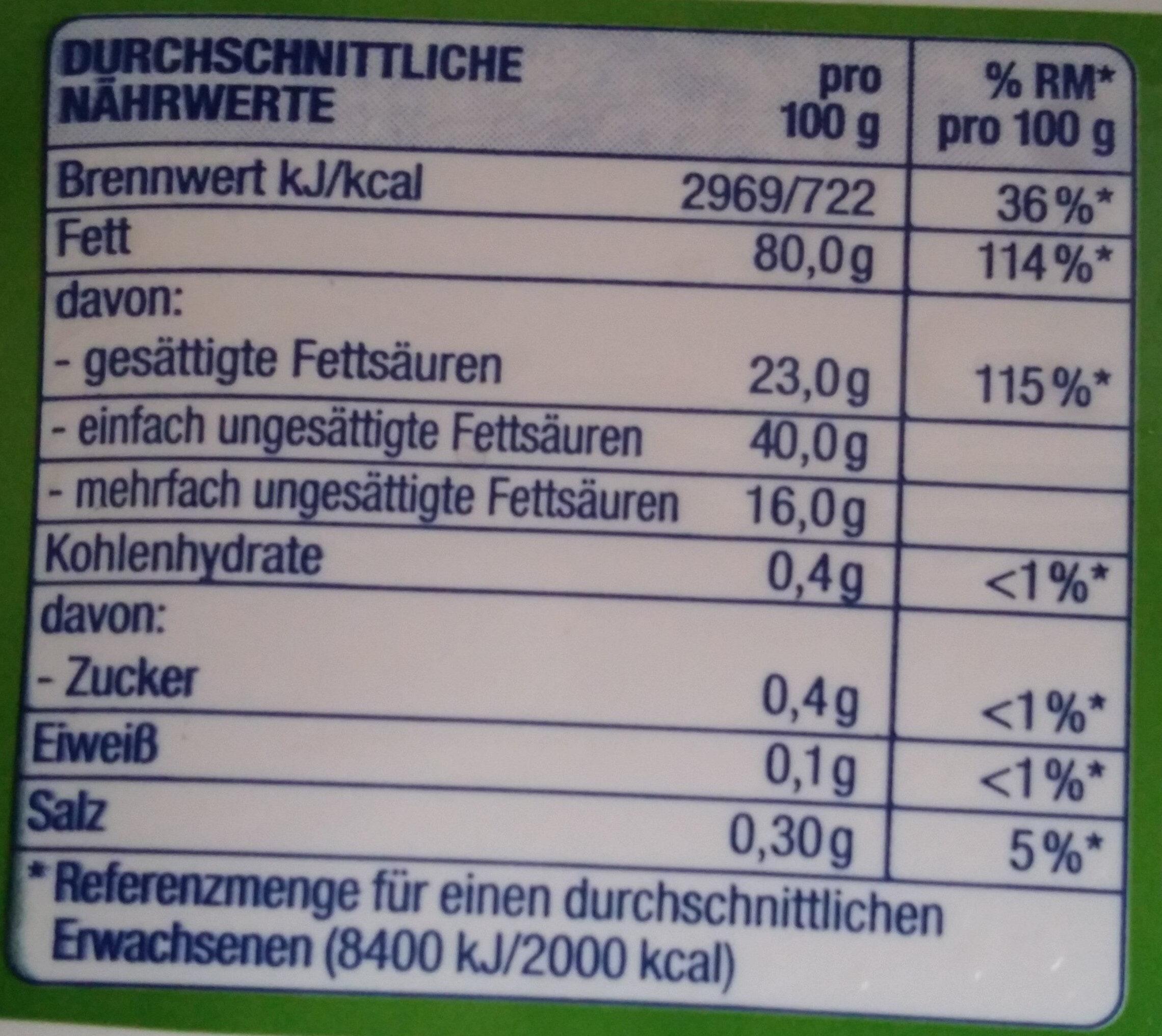 Pflanzen Margarine - Nutrition facts - de