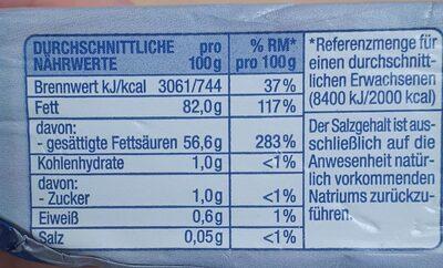 Deutsche Markenbutter mildgesäuert - Valori nutrizionali - de