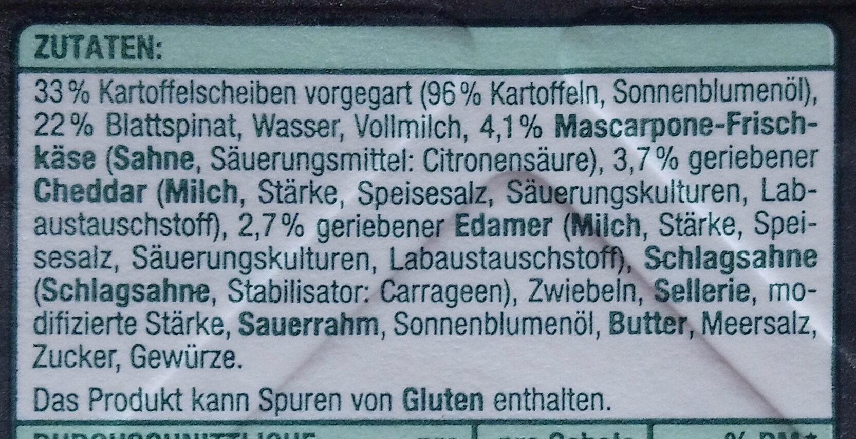 Kartoffel-Ausflauf mit Blattspinat - Ingredients - de